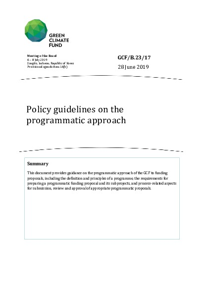 GCF/B.23/17 : Policy guidelines on the programmatic approach | Green  Climate Fund